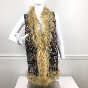 Flying Tomato Jackets & Coats - Flying Tomato Faux Fur & Shearling Tapestry Vest